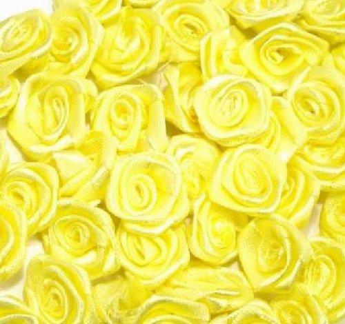 Saténová růžička 10 ks- žlutá