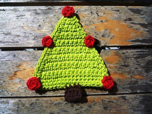 Podložky pod hrníčky - Vánoční stromeček - 4ks