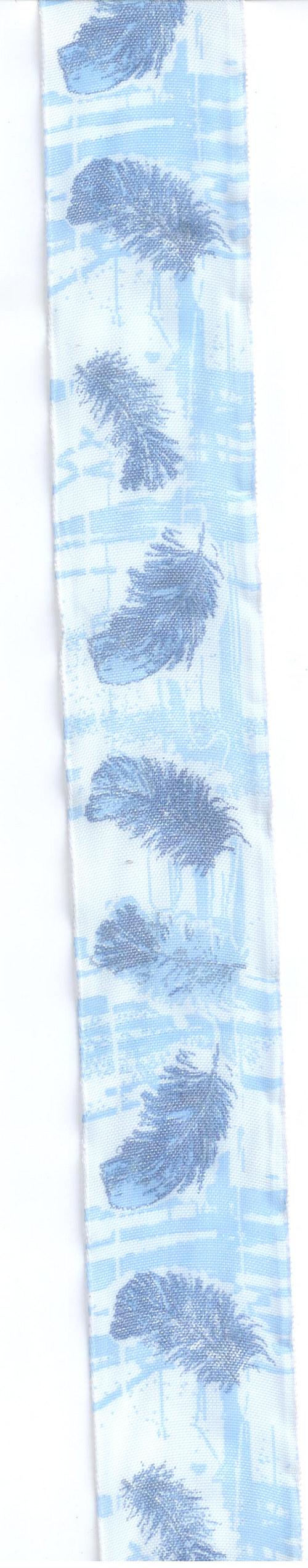 Stuha modrá s peříčky