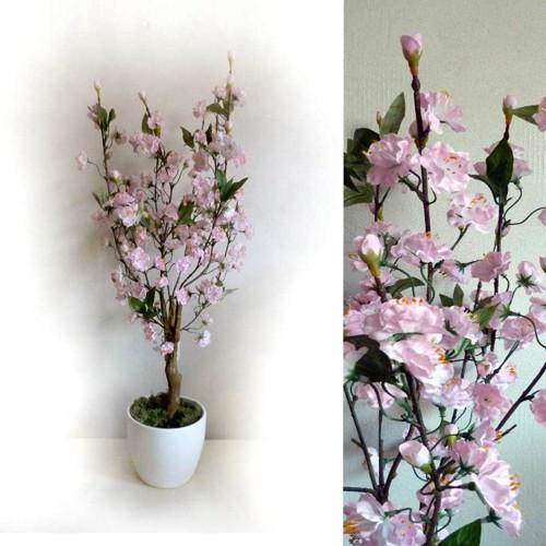 Jarní květy na umělé bonsaji - keramický květináč