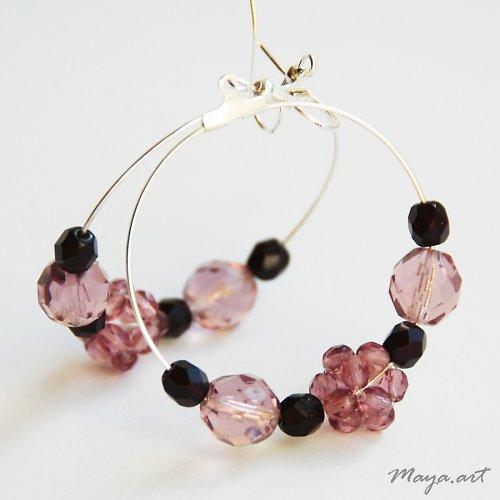 Růžové kruhové náušnice