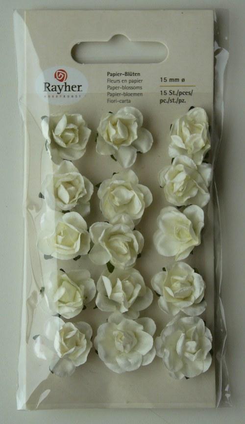 Papírové květy 15 ks  1,5 cm