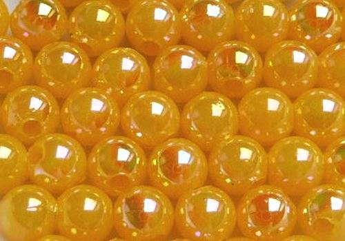 Plastové kuličky duhové 4 mm - tm. žlutá / 20 ks