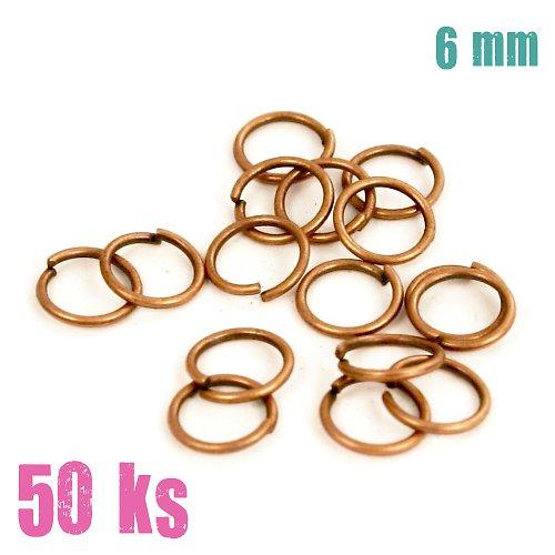 Měděné kroužky 6 mm (50 ks)