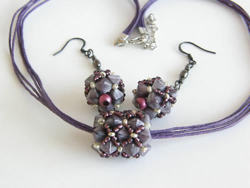 Dámská sada náhrdelník, náušnice - fialová BH-004