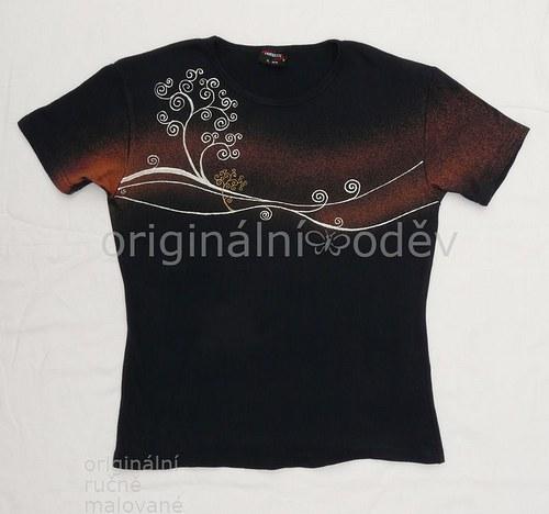Malované tričko dámské - stromky - tmavomodré
