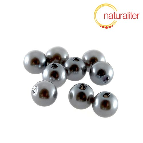 Voskované perly, šedé, 8mm, 50ks