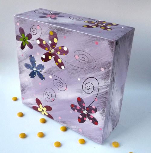 maxi krabice na čaj - fialová s květy