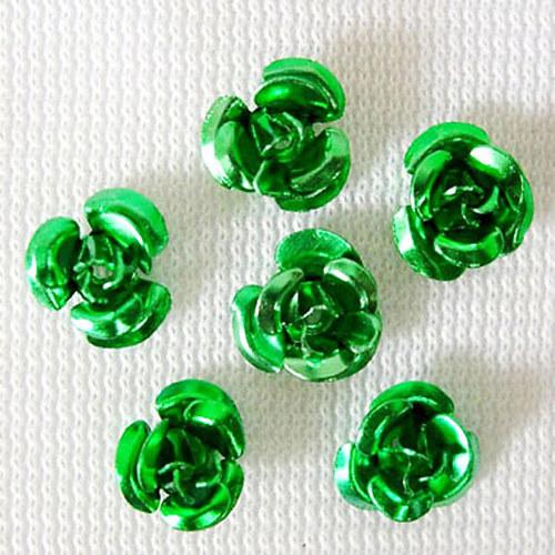 kovový korálek růže/ zelená/ 6,5mm/ 10ks