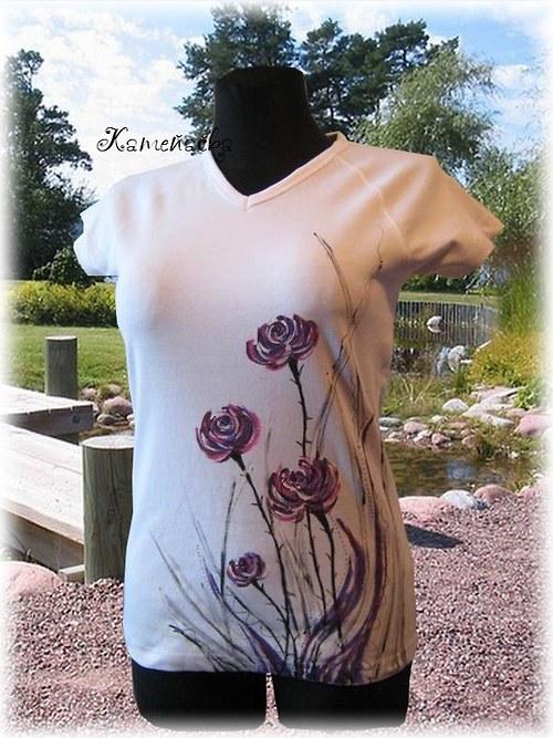 dámské tričko-fialové květy