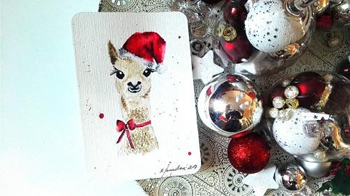Autorská vánoční pohlednice - lama