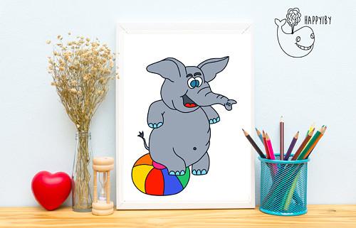 Slon v barvě (bez stínů)