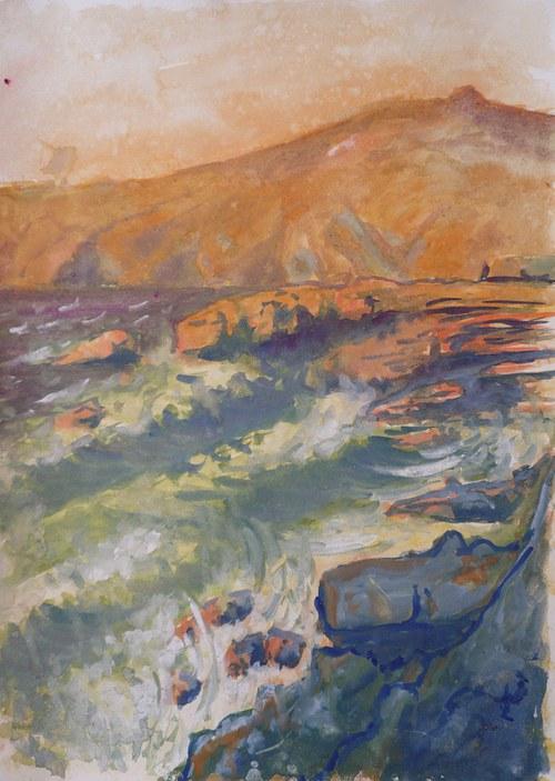Pohled na Cabo da Roca, akvarel