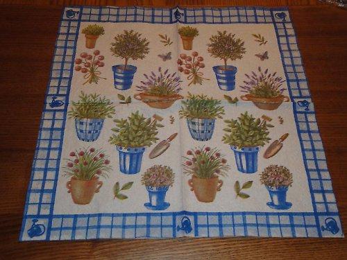 Ubrousek na decoupage - bylinky v květináči