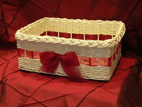 Košíček  na vývazky - Ivory-bordó
