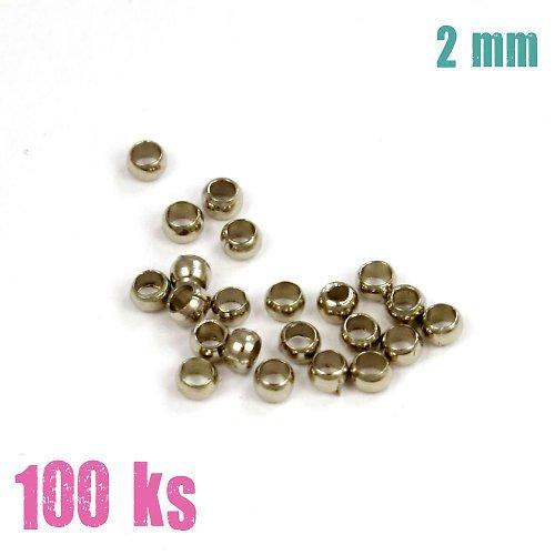 Zamačkávací rokajl kulatý platinový 2 mm 100 ks