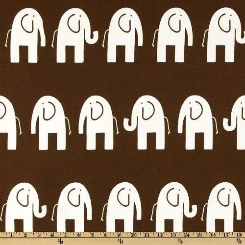Sloni na hnědé: Pevná dekorační látka šíře 140 cm