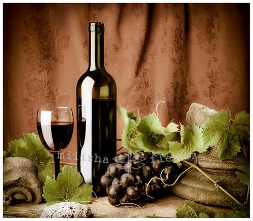 Zátiší s  vínem - blahopřání