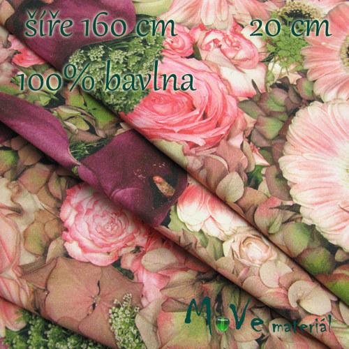 Bavlněné plátno - květy 20cm/ š 160cm