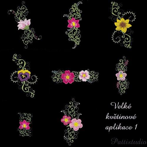 Vyšívací vzory - Velké květinové aplikace 1