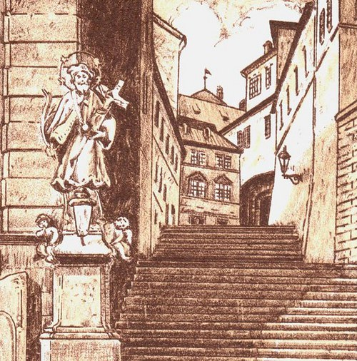 pražský motiv-radniční schody