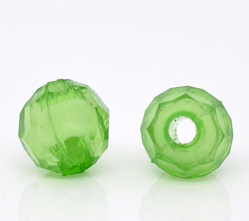 akrylové korálky kulaté 6mm/ zelená č. 5 /30ks