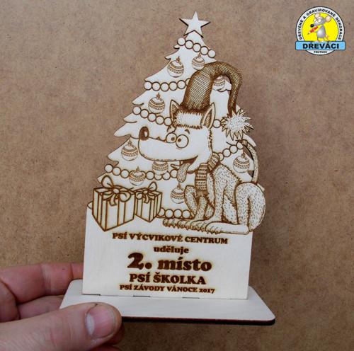 """Dřevěné poháry \""""Psí závody Vánoce 2017\"""""""