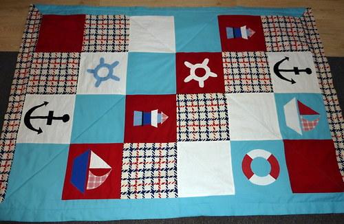 Námořnická patchwork OBR deka přehoz 2,04m x 1,44m