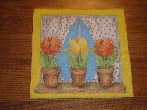 Ubrousek na decoupage - tulipány na okně
