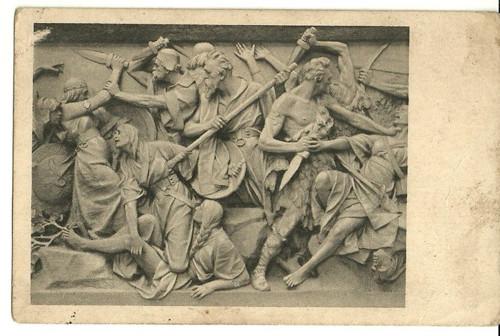 Umělecká pohlednice plastika V.Šaff Dívčí válka