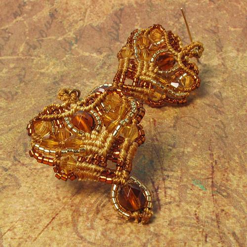 Macramé náušnice Alžběta zlaté