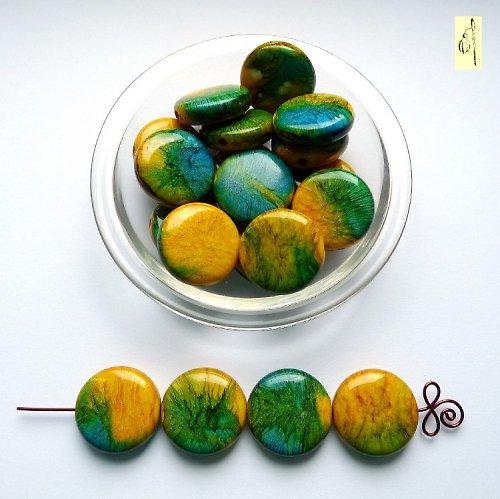 Mram. placička žluto-modro-zelená,25 mm,2ks, sleva