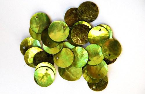 perleťové kolečka zelené 1-2cm