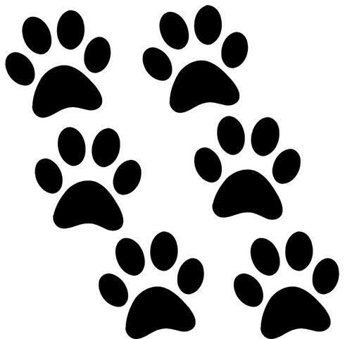 kočičí tlapky (6ks) - samolepky 3,5 x 3,5cm