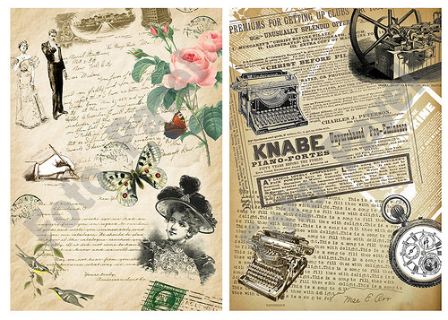Vintage  motivy  - texty - papírové