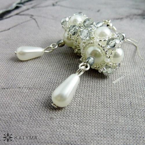 Náušnice perlové se stříbrnou