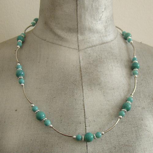 náhrdelník tyrkysovostříbrný