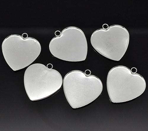 Přívěsek lůžko srdce2.jak/ 28x26mm/ stříbro/ 1ks