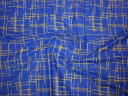 19101 Látka žíhaná modrá žlutou ATEST DĚTI á 0,5m