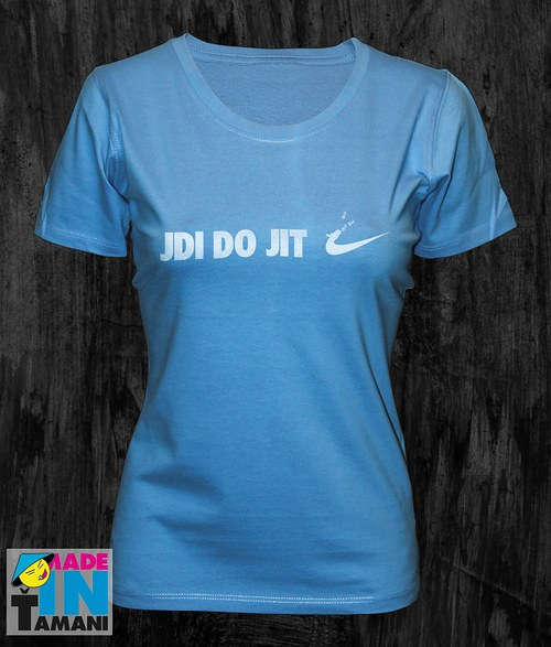 Dámské modré tričko Jdi dojit 02