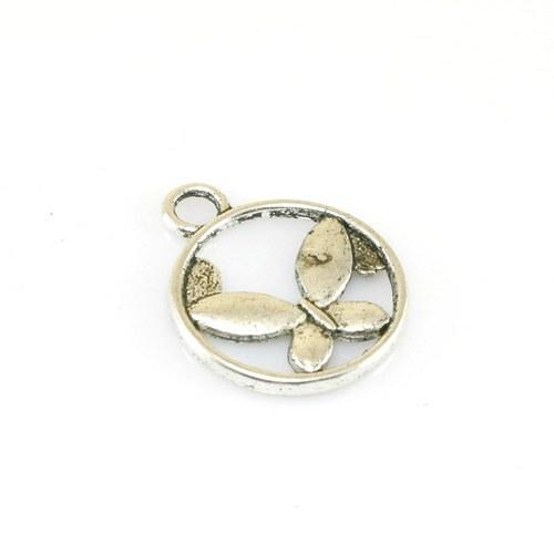 Přívěsek - motýlek v kruhu, 1 ks