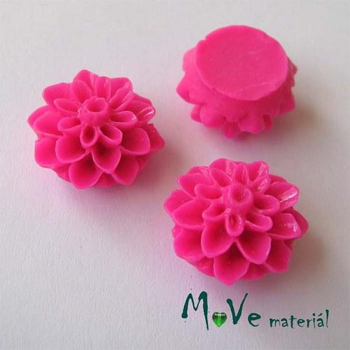 Kabošon květ lesklý A7 - resin - 2ks, tm. růžový