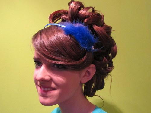 Peříčková čelenka královsky modrá