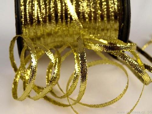 Stuha s lurexem š.3,5mm zlatá