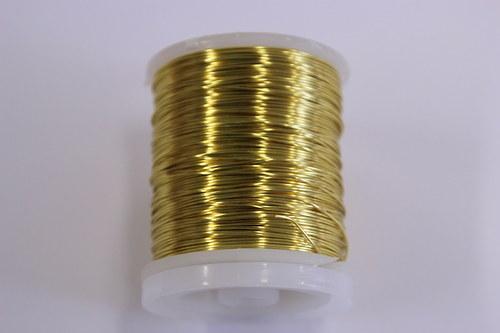 Měděný drátek 0,8mm - zlatý, návin 8,5-9m