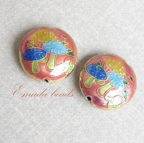Cloisonne houbičky růžová, 1,7 cm