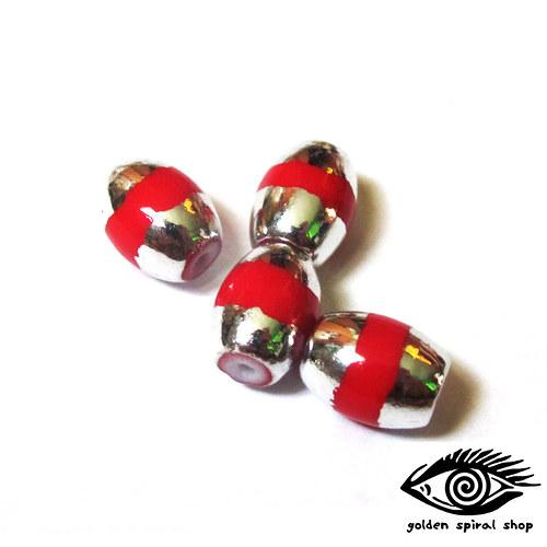Stříbro-červené korálky - 6 ks