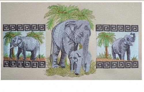 SLEVA! Vyšívaní sloni- zarámovaný obraz