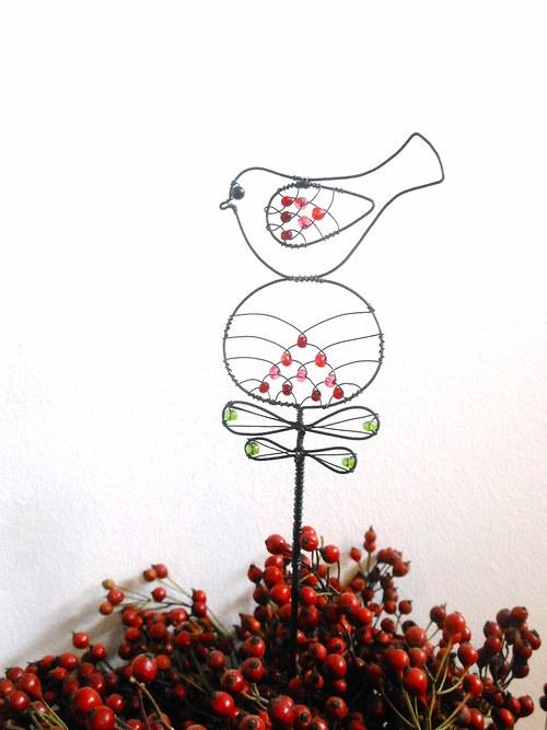 Ptáček na květince - zápich