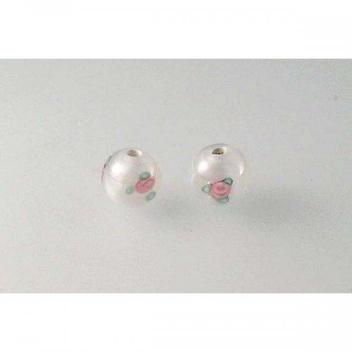 ručně navíjená perle - dvoufleková - kulatá bílá 6mm 2ks